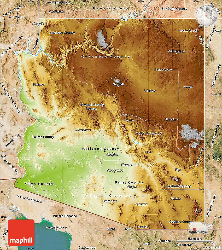 Satellite Map Of Arizona.Physical Map Of Arizona Satellite Outside