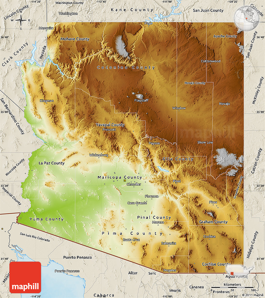 Map Of South Arizona.Physical Map Of Arizona Shaded Relief Outside
