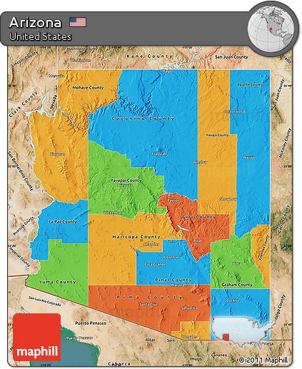 Free Political Map Of Arizona Satellite Outside - Arizona political map