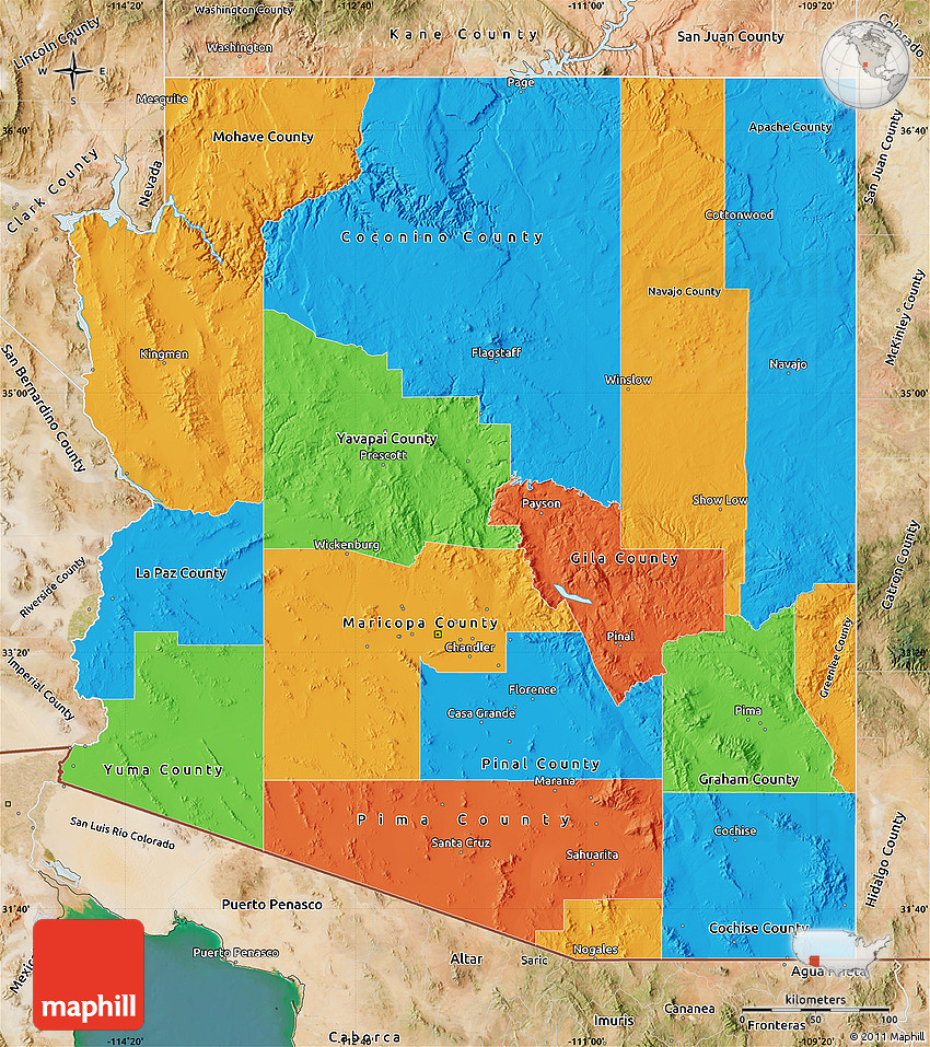 Satellite Map Of Arizona.Political Map Of Arizona Satellite Outside