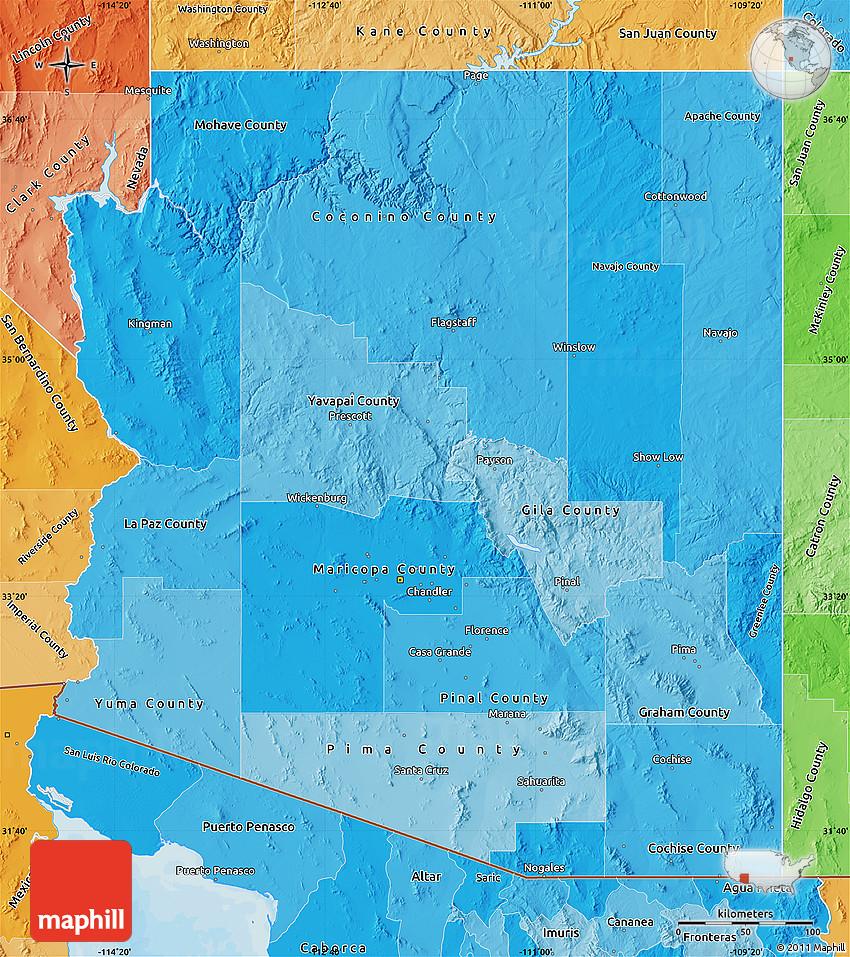 Political Shades Map Of Arizona