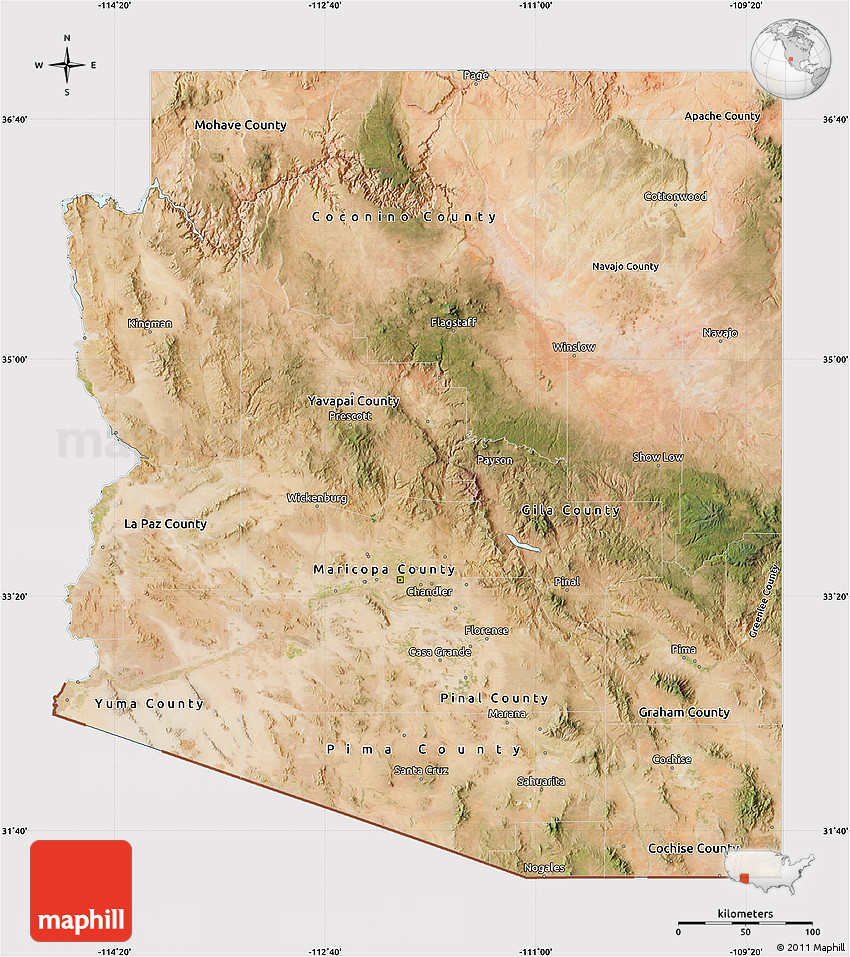 Satellite Map Of Arizona.Satellite Map Of Arizona Cropped Outside