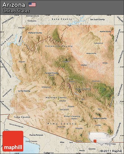 Satellite Map Of Arizona.Free Satellite Map Of Arizona Shaded Relief Outside