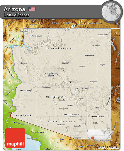 Free Shaded Relief Map Of Arizona Physical Outside - Arizona physical map