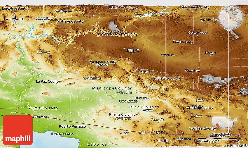 Physical Panoramic Map Of Arizona