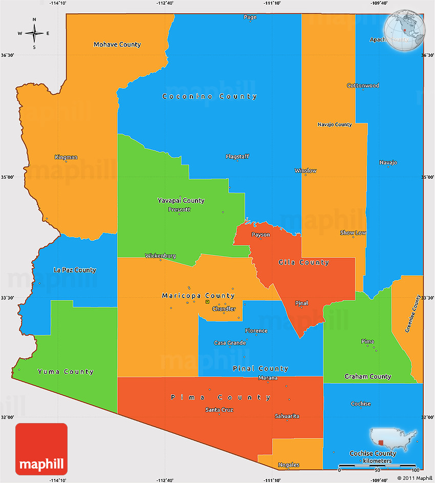 Political Simple Map of Arizona, cropped outside