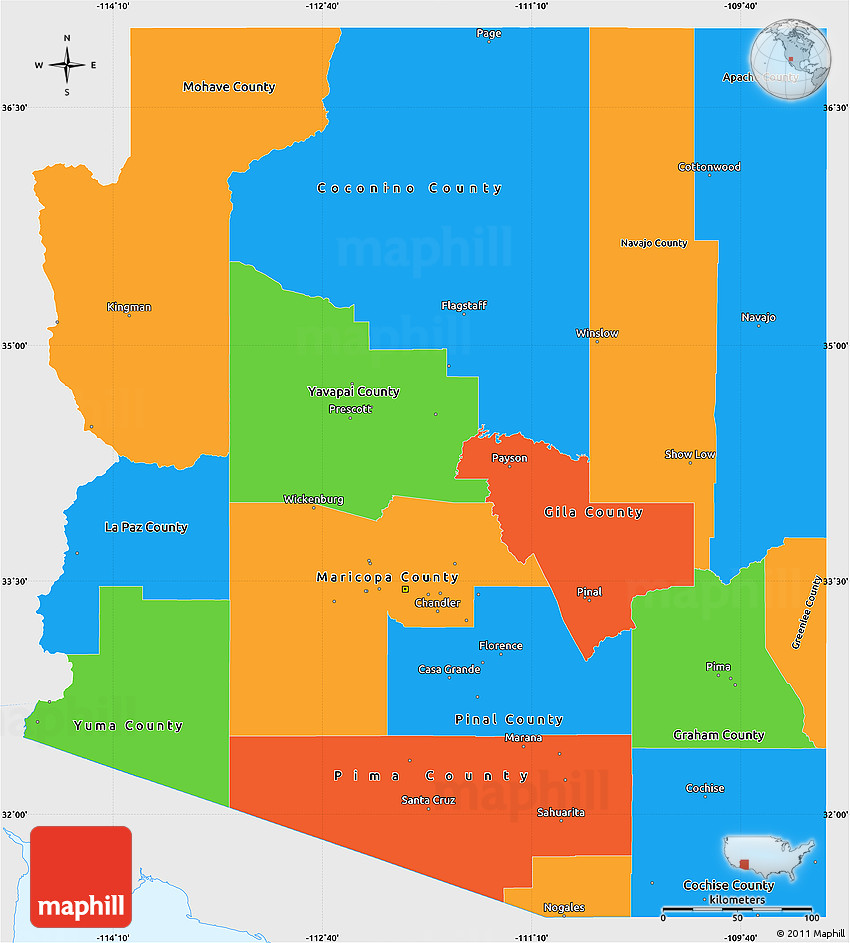 Political Simple Map of Arizona, single color outside