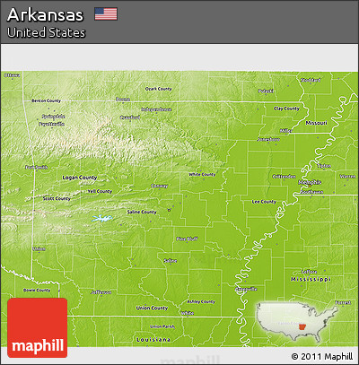 Free Physical 3D Map Of Arkansas