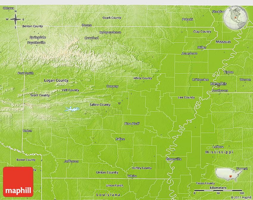 Physical D Map Of Arkansas - Arkansas physical map