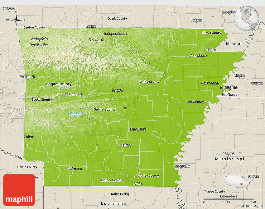Physical D Map Of Arkansas Shaded Relief Outside - Arkansas relief map