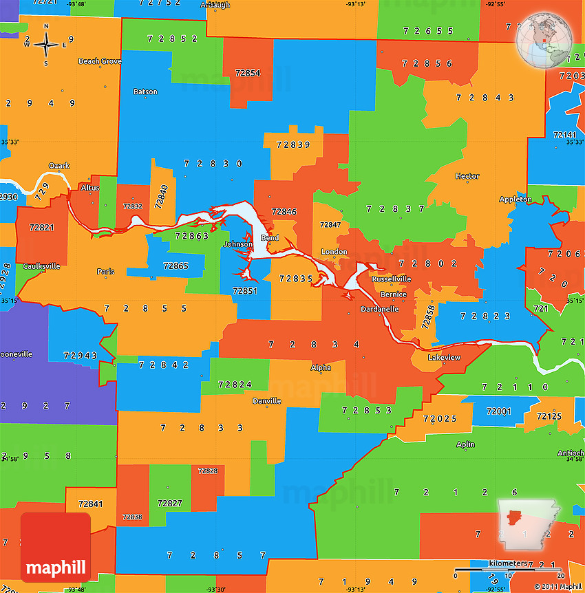 Political Simple Map of ZIP Codes Starting