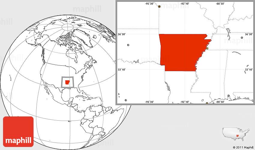 Blank Location Map Of Arkansas