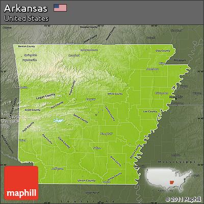 Free Physical Map Of Arkansas Darken Semidesaturated