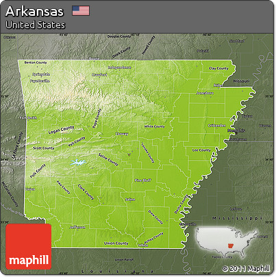 Free Physical Map Of Arkansas Darken Semidesaturated - Arkansas physical map
