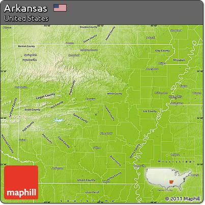Free Physical Map Of Arkansas