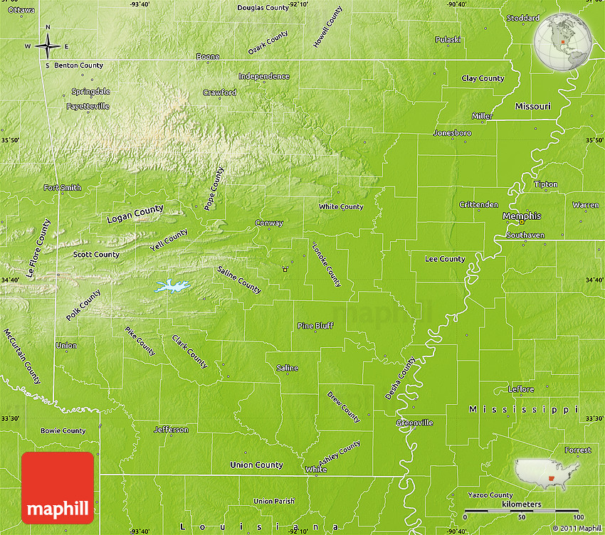 Physical Map of Arkansas