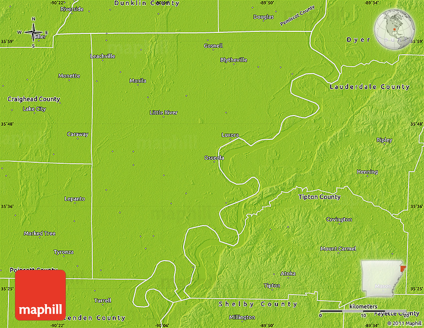 Physical Map Of Mississippi County