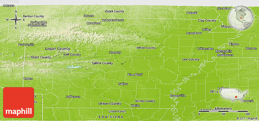 Physical Panoramic Map Of Arkansas