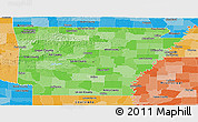 Political Shades Panoramic Map of Arkansas