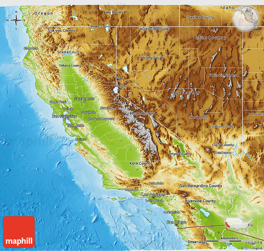 Physical 3D Map Of California