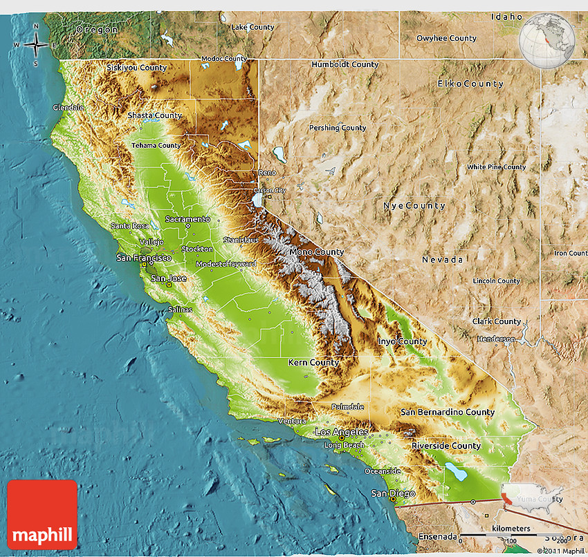 California Map Geographical Map Of California MEMES
