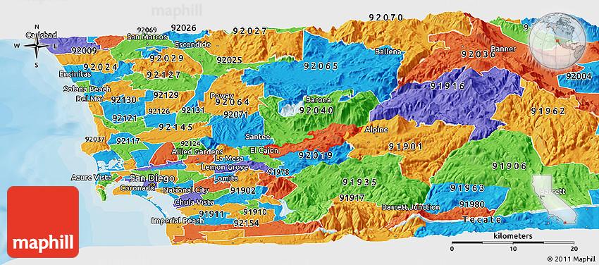 La Mesa Zip Code Map.Political Panoramic Map Of Zip Code 92021