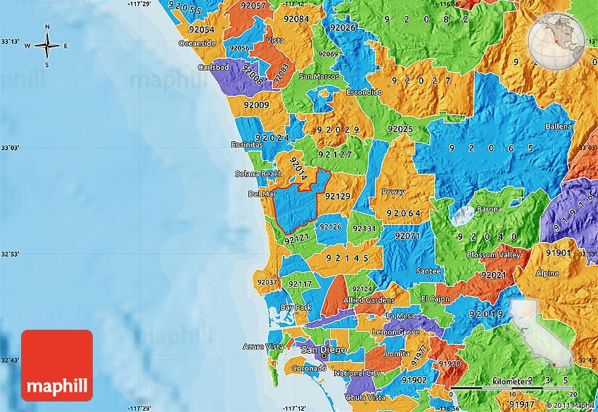 Political Map of ZIP Code 92130