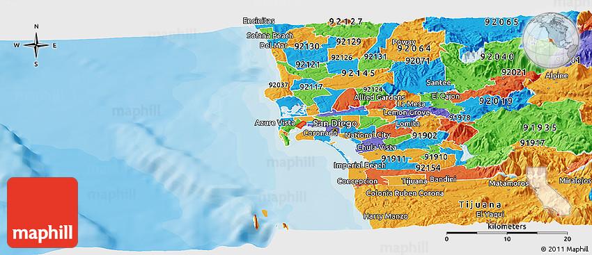 Lemon Grove Zip Code Map.Political Panoramic Map Of Zip Code 92133