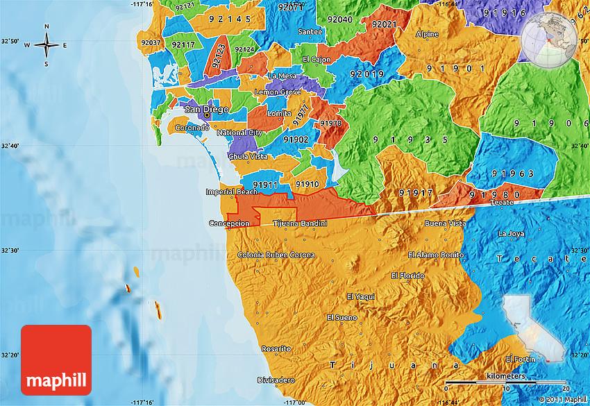 Lemon Grove Zip Code Map.Political Map Of Zip Code 92154
