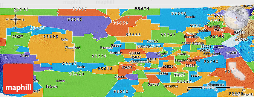 Rancho Cordova Zip Code Map.Political Panoramic Map Of Zip Code 95835