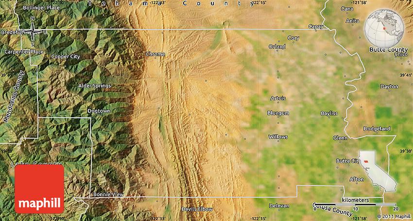 Glenn County California Map.Satellite Map Of Glenn County