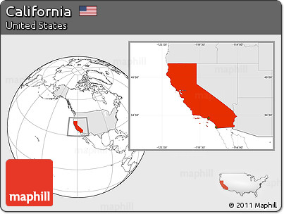 Free Blank Location Map Of California Highlighted Country - Us map with california highlighted