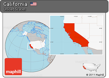 Free Gray Location Map Of California Highlighted Country - Us map with california highlighted