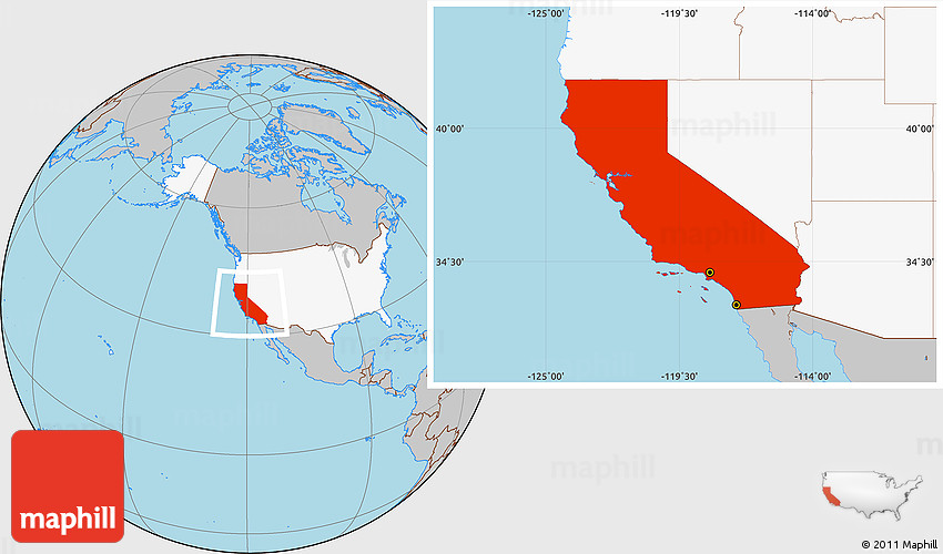 Gray Location Map Of California Highlighted Country
