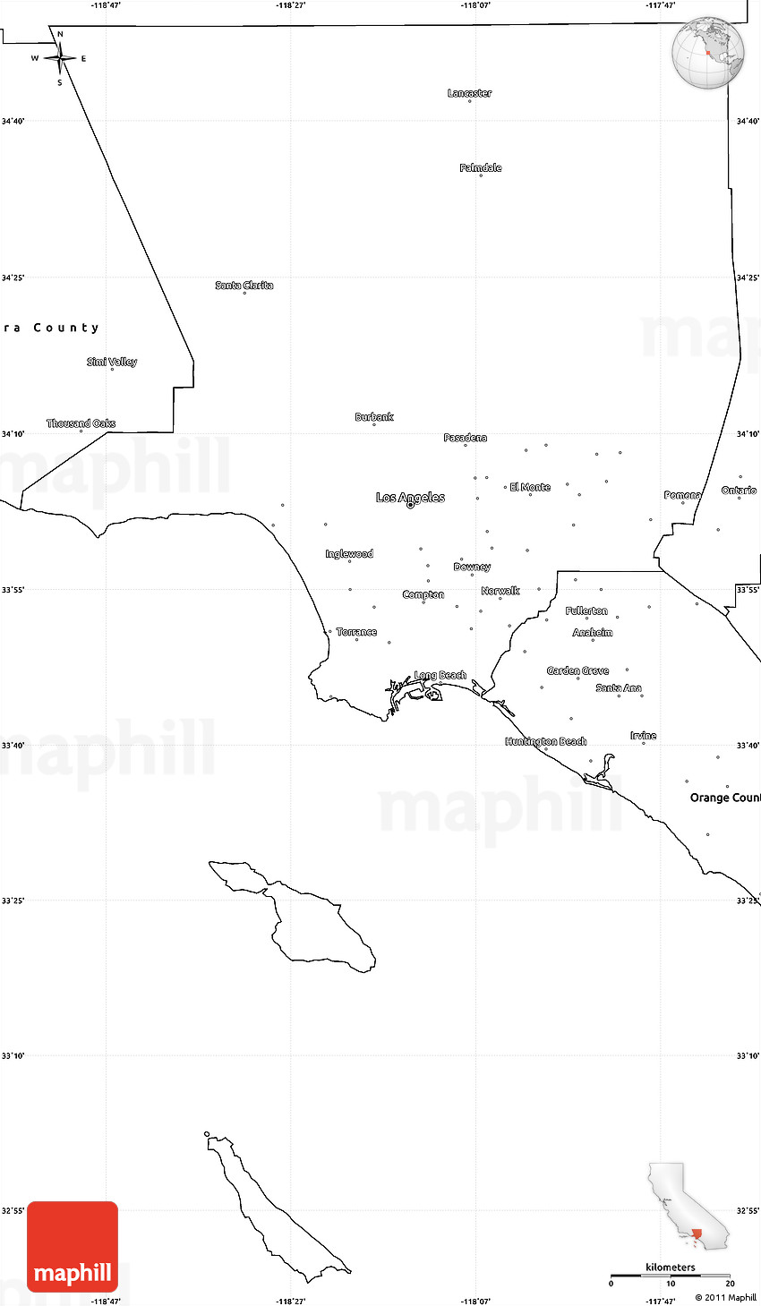 Blank Simple Map Of Los Angeles County