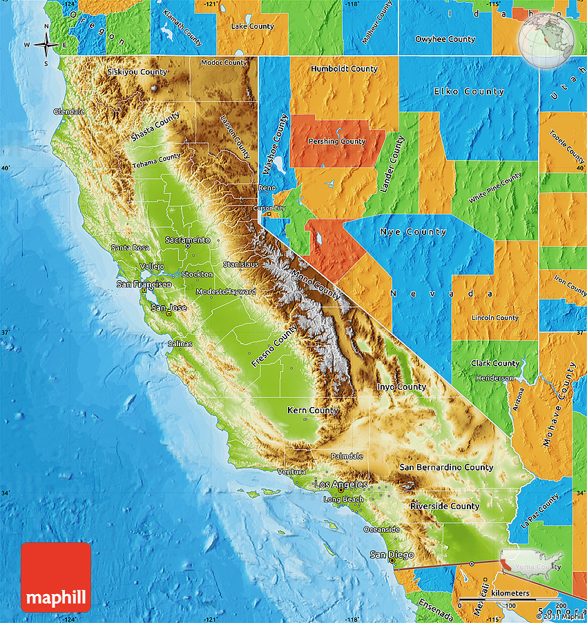 Physical Map of California, political outside