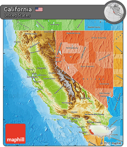 Free Physical Map of California, political shades outside