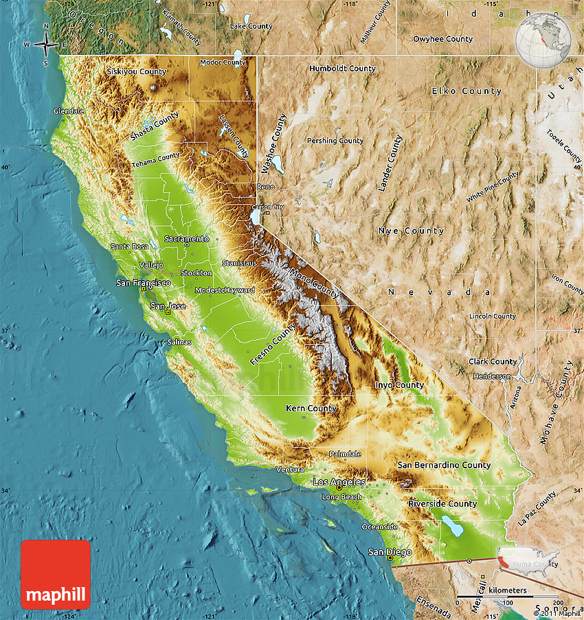 Physical Map of California, satellite outside