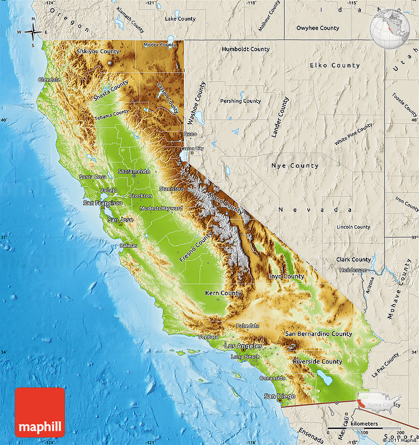 Physical Map Of California Shaded Relief Outside - Map of califirnia