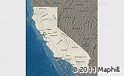 Shaded Relief Map of California, darken