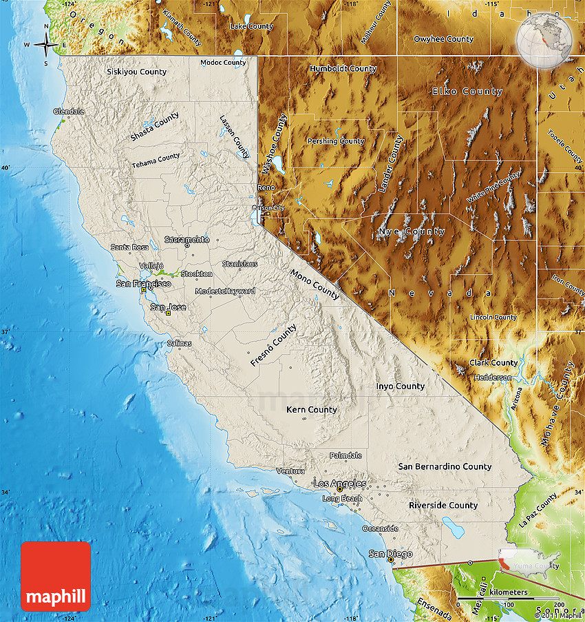 Shaded Relief Map of California, physical outside on la california map, geologic map, california disaster map, california drought 2013 map, california regions coloring page, california nature map, california love map, california safety map, south orange county california map, california chaparral biome map, california regions map, california palm trees art, california geographical map, political map, california painting map, california geology map, california food map, california snow depth map, washington topographic map, california mountains map,