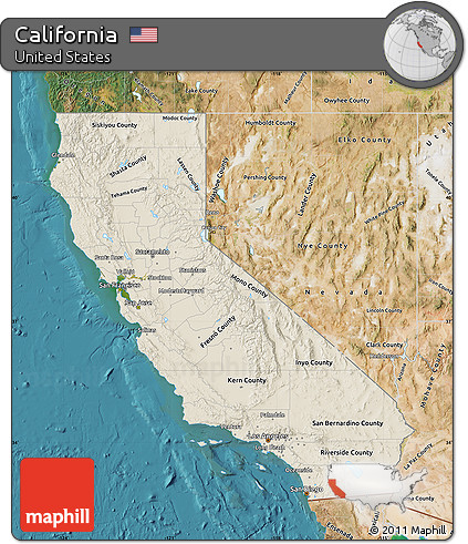 Free Shaded Relief Map of California, satellite outside on