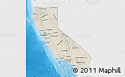 Shaded Relief Map of California, single color outside