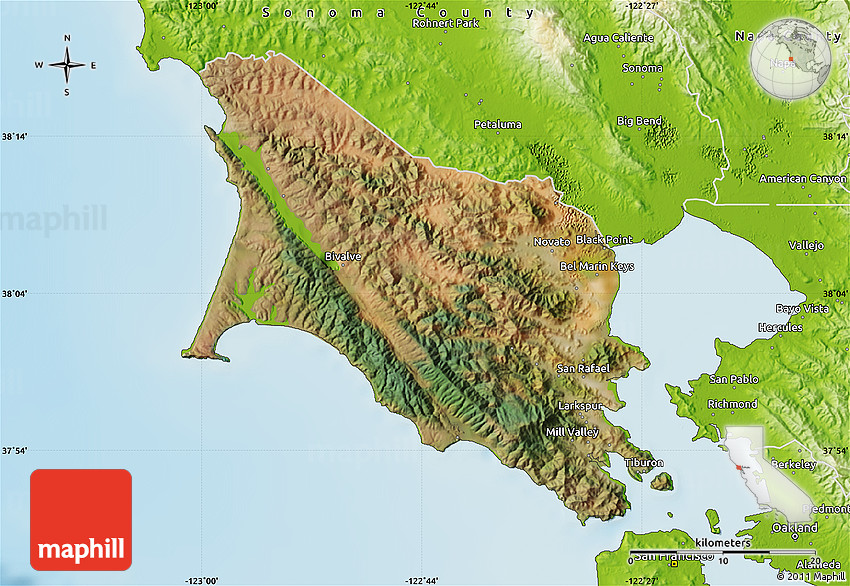 Satellite Map Of Marin County Physical Outside