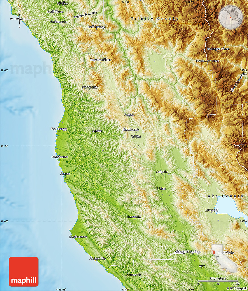 Physical Map Of Mendocino County - Physical map of the united states bays