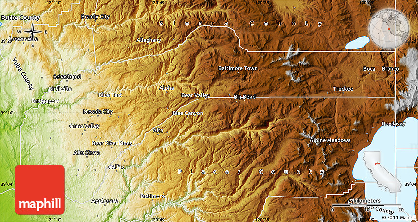 Physical Map of Nevada County