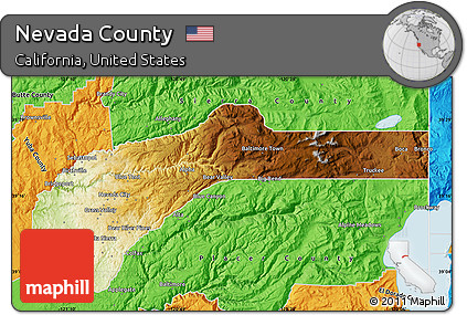Free Physical Map Of Nevada County Political Outside
