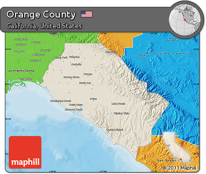 Orange County Political Map.Free Shaded Relief Map Of Orange County Political Outside
