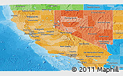 Political Shades Panoramic Map of California