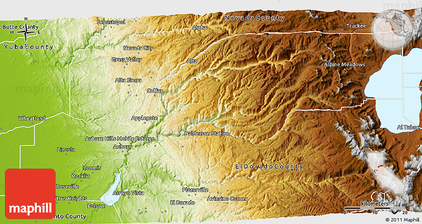 Physical 3D Map of Placer County